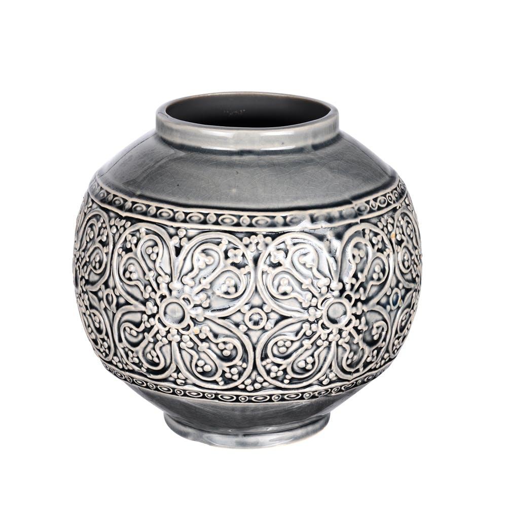 Vase Boule Angel gris motifs Fleurs H18cm