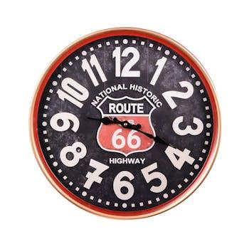 """Horloge """"Route 66"""" en métal noir D29cm"""