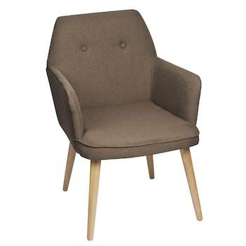 Fauteuil inspiration scandinave tissu couleur beige pieds bois 59x67x82cm OSLO