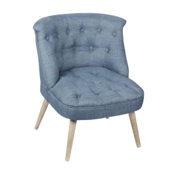 Fauteuil crapaud assise et dossier capitonné tissu bleu 67x59x71cm CAMILLE