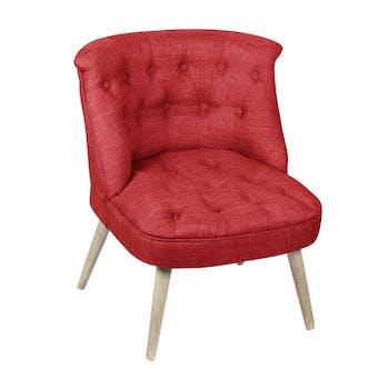Fauteuil crapaud assise et dossier capitonné tissu rouge 67x59x71cm CAMILLE