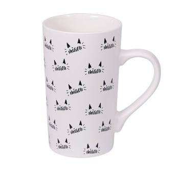 """Mug XL à anse motif oreilles de chats """"Miaou"""" blanc et noir 50cl"""