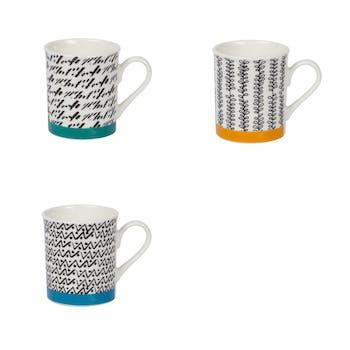 Coffret 8 tasses à expresso bande coloré et graphisme noir et blanc 10cl