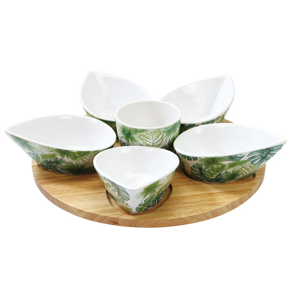 Set apéritif 7 pièces décor feuilles tropicales D32cm