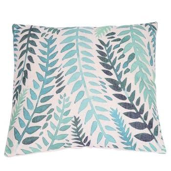 Coussin vert bleu motif feuillage 45x45cm