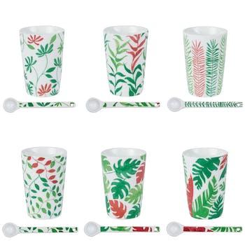 Coffret 6 gobelets avec cuillères motif feuillage vert et rouge