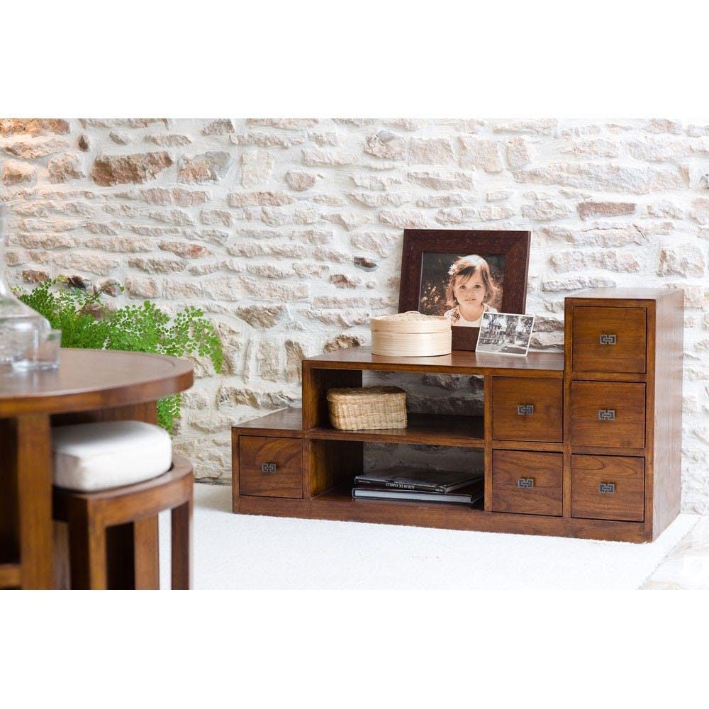 Grand meuble TV bois exotique verni LOLA