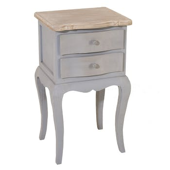Table de chevet 2 tiroirs bois gris CALIE