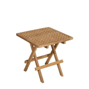 Table d'appoint de jardin en Teck carrée pliante 50cm SUMMER
