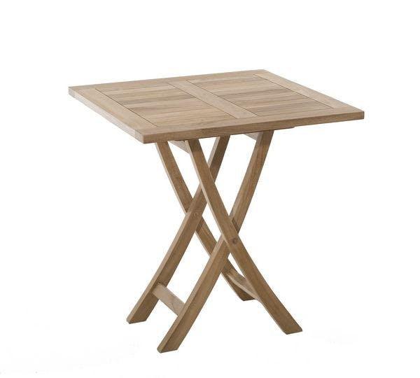 Table de jardin en Teck brut carrée pliante 70cm SUMMER