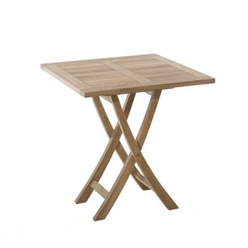Table de jardin en Teck brut carrée pliante 70cm SUMMER