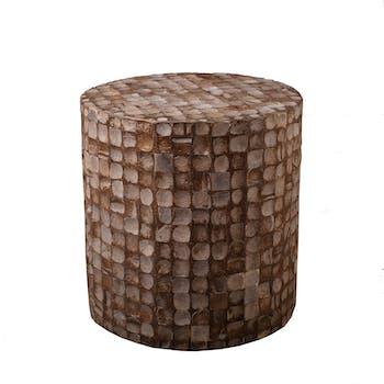 Tabouret COCO cylindre coconut café D40cm