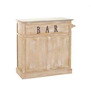 Meuble bar bois patiné zinc 109x46x106cm SANDRA