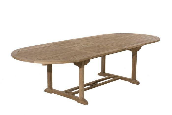Table de jardin en Teck ovale extensible 200/300x120cm SUMMER