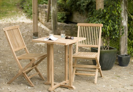 Table de jardin en Teck brut carrée bistrot 60cm SUMMER