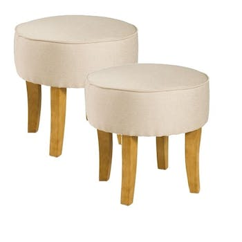 Tabourets ronds tissu couleur naturelle BRITISH lot de 2