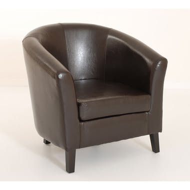 Fauteuil cabriolet PU chocolat BRITISH