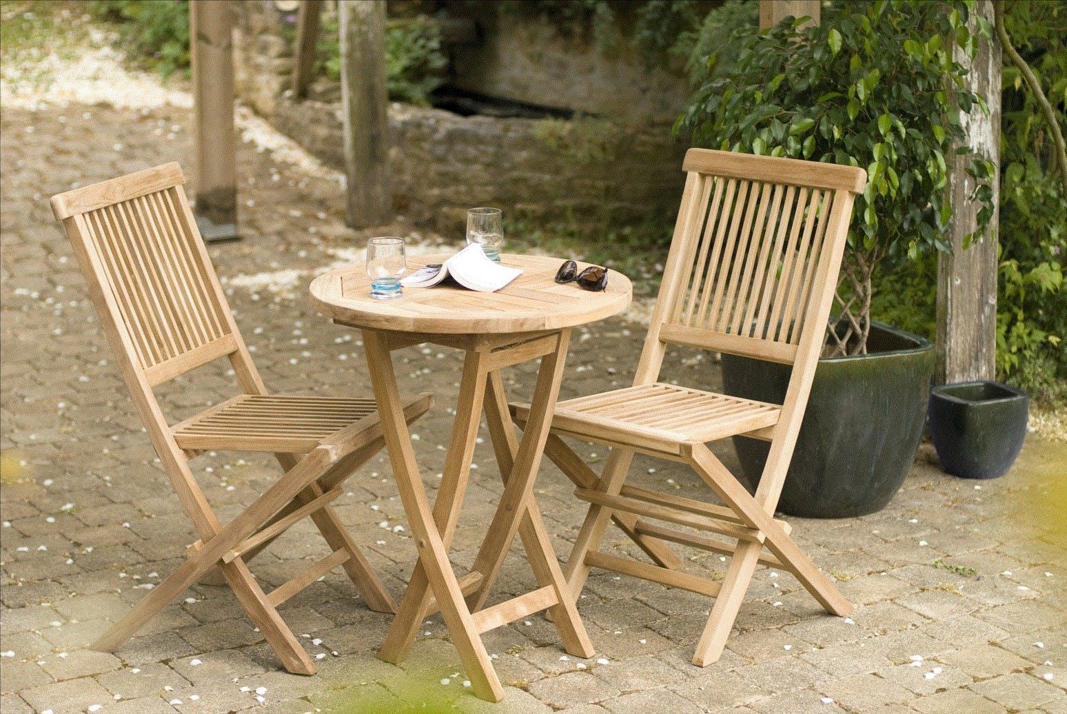 Salon de jardin en Teck table ronde 2 chaises 60cm SUMMER