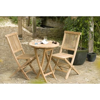 Salon de jardin en Teck table ronde 2 chaises 60cm SUMMER