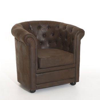 Fauteuil chesterfield microfibres chocolat BRITISH