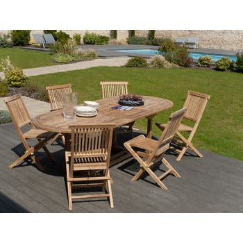 Salon de jardin Teck table ovale 180x100cm 6 chaises SUMMER