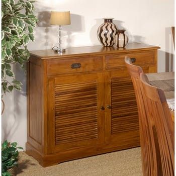 Buffet salon exotique bois de teck grand modèle BISHO