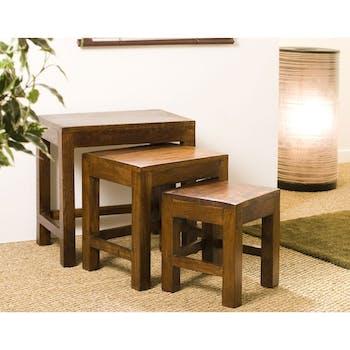 Table gigogne bois d'acacia MANDY (lot de 3)