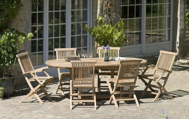 Table de jardin en Teck ovale extensible 150/200X90cm SUMMER