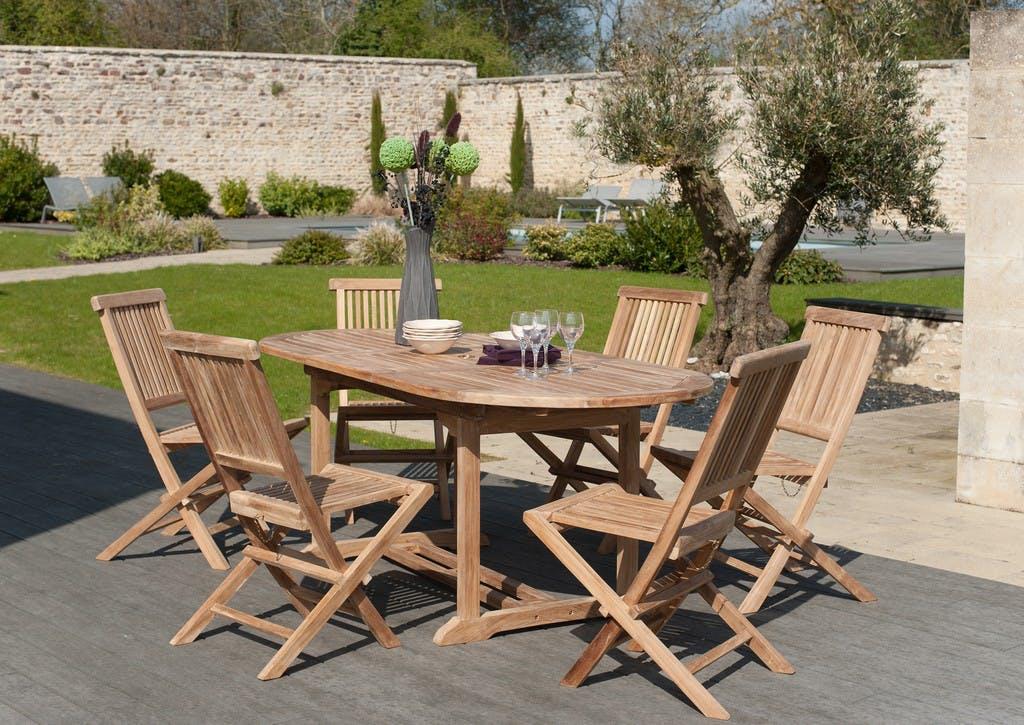Salon de jardin Teck table ovale 150/200cm 6 chaises SUMMER