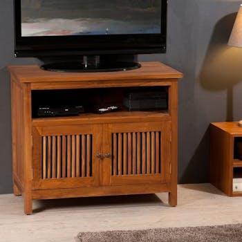 Meuble TV bois de teck 2 portes BISHO