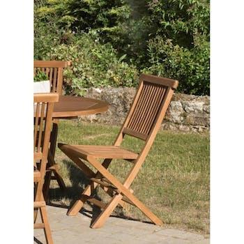 Chaise de jardin en Teck teinté pliante 90cm WALTER