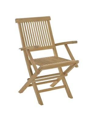 Salon jardin Teck table 180x100cm 4 chaises 2 faut. SUMMER