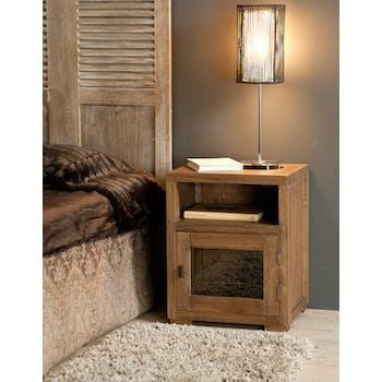 Table de chevet bois exotique cannelle 50cm LOUNA