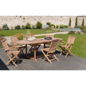 Salon jardin Teck table ovale 180x90cm 4 chaises 2 faut. SUMMER
