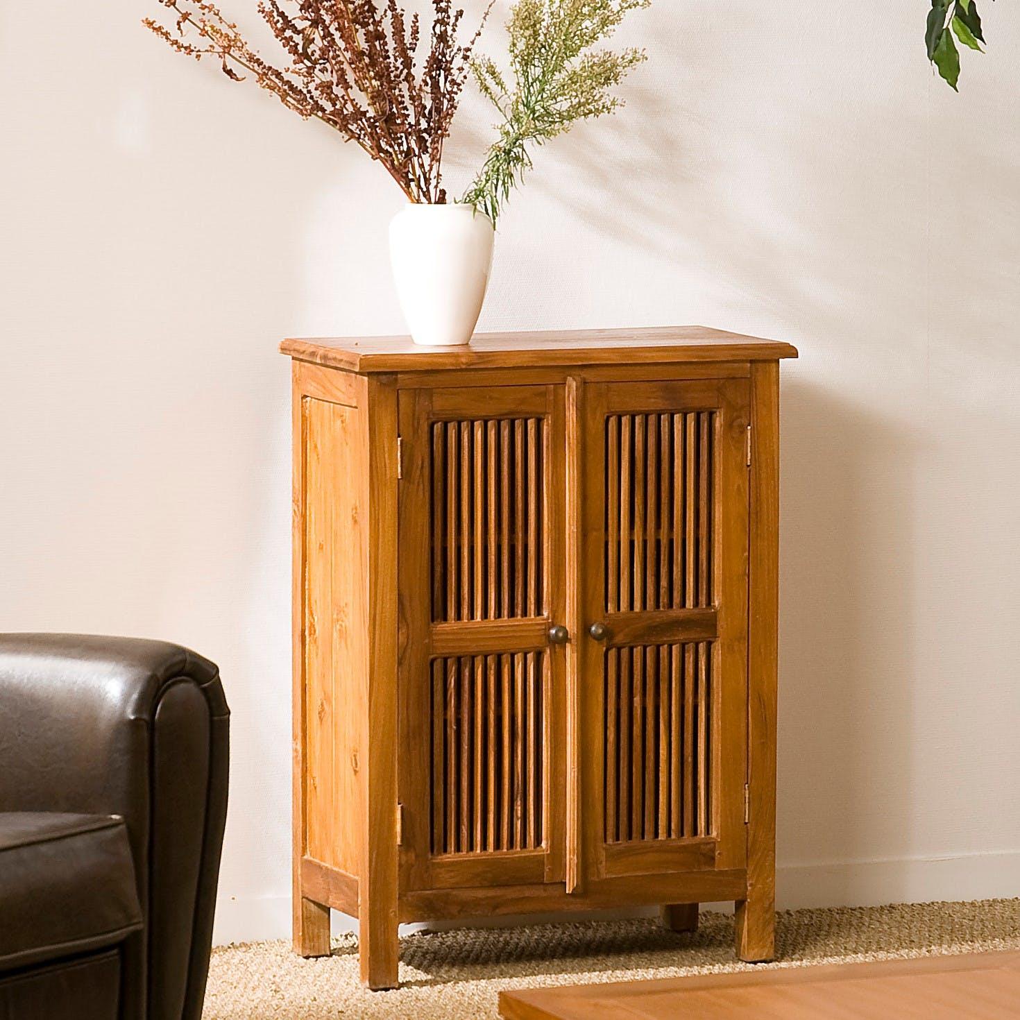 Petit meuble d'entrée bois de teck BISHO