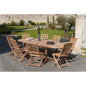 Salon de jardin en Teck table ovale 200/300cm 8 chaises SUMMER