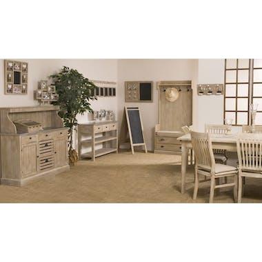 Buffet bar bois blanchi zinc 129x40x123cm SANDRA