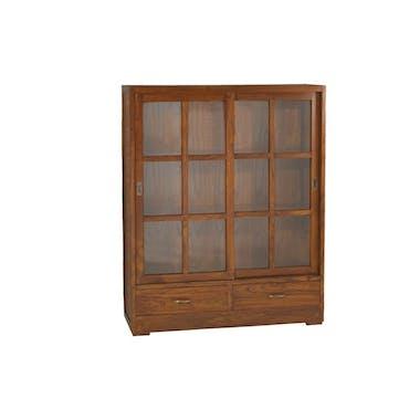 Bibliothèque portes vitrées coulissantes Acajou 120cm LOLA