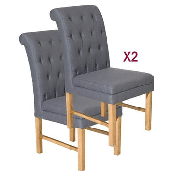 Chaises à boutons tissu couleur anthracite BRITISH lot de 2