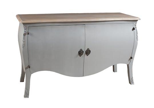 Buffet 2 portes baroque gris clair 140cm ODYSSEE