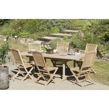 Salon jardin Teck table rectangle 240x120cm 6 chaises SUMMER