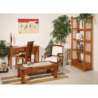 Bureau colonial 5 tiroirs Teck Miel 120cm BISHO