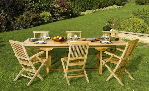 Table de jardin en Teck rectangle extensible 180/240cm SUMMER