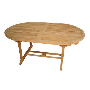 Table de jardin en Teck ovale extensible 180/240x120cm SUMMER
