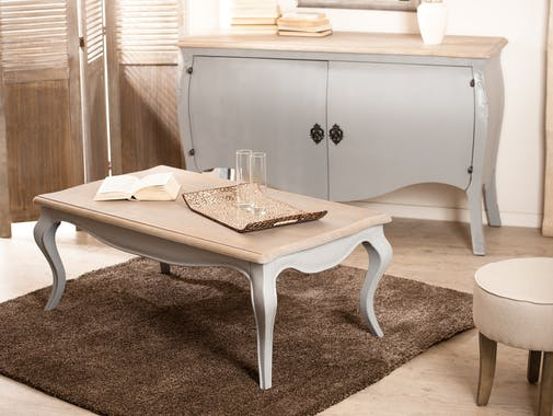 Table basse Baroque rectangle gris clair 115x65cm ODYSSEE