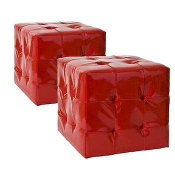 Poufs 35cm PU rouge BRITISH lot de 2