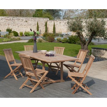 Salon jardin Teck table extensible 180/240cm 6 chaises SUMMER