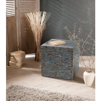 Pouf COCO cube bleu ciel 42x42cm