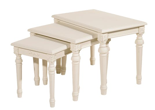 Table gigogne blanche romantique bois LISE (lot de 3)