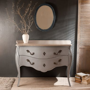Console/commode 2 tiroirs gris clair120cm ODYSSEE